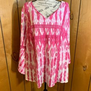 New directions pink tie dye bell sleeve tunic